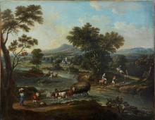 Attributed to Giuseppe Zais (Forno di Canale 1709-1784 Treviso) An extensive river landscape with travellers crossing and washerwomen beyond