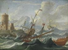 Circle of Orazio Grevenbroeck (Milan circa 1676-1739 Naples) Shipping in stormy waters before a fort