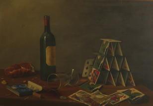 Brian Davies-(British, born 1942)-'Wine and Cards'