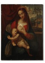 Follower of Leonardo da Vinci (Anchiano 1452-1519 Amboise) The Madonna and Child unframed