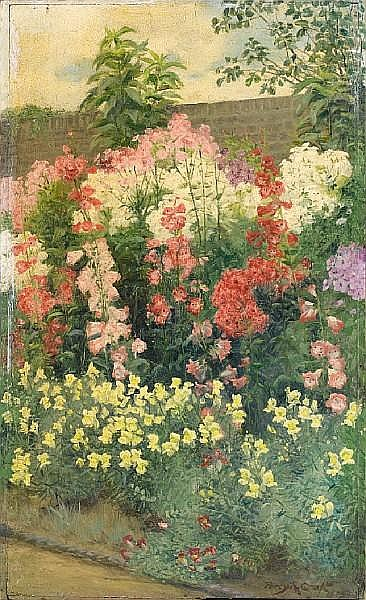 Percy Robert Craft (British, 1856-1934) The garden in full bloom both 38.6 x 23.8 cm. (15 3/16 x 9 3/8 in.) unframed