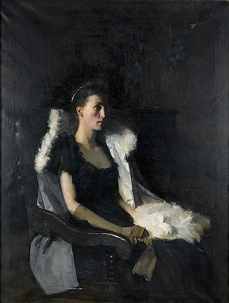 Frank Bramley, R.A. (British, 1857-1915) Portrait of Ethel Grace Bolitho, nee Macleod 153 x 117 cm. (60 1/4 x 46 1/16 in.)