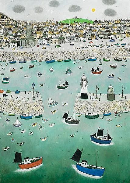 Joan Gillchrest (British, 1918-2008) St. Ives Harbour 101.5 x 71 cm. (40 x 28 in.)