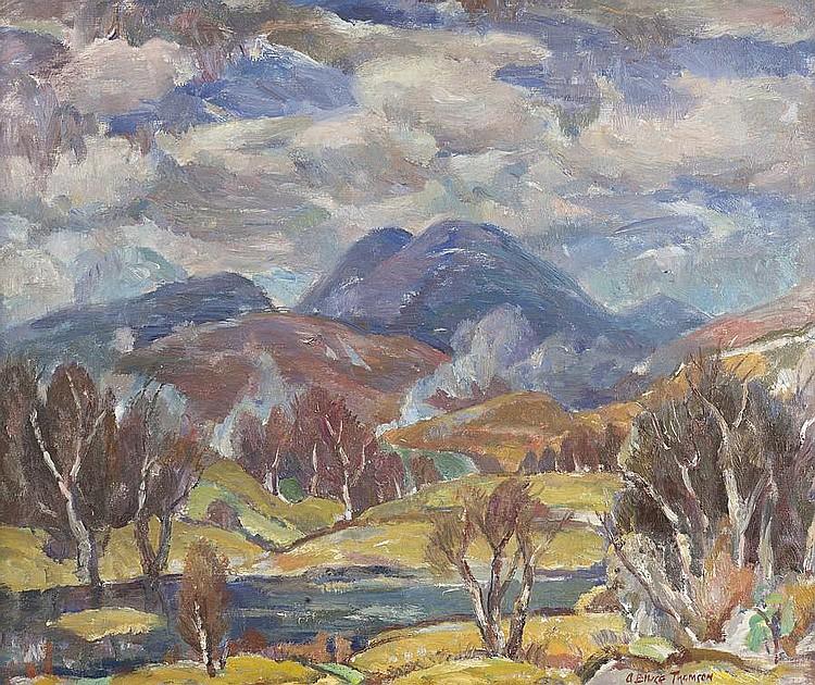 Adam Bruce Thomson, OBE RSA PRSW HRSW (British, 1885-1976) Spring in Perthshire 62 x 74 cm. (24 7/16 x 29 1/8 in.)