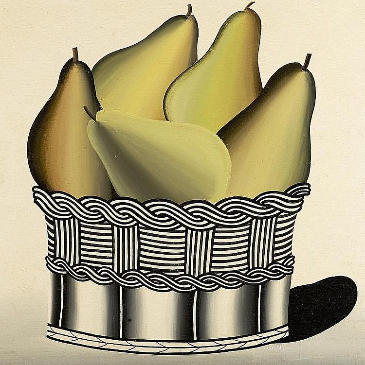 Jack Knox, RSA RSW RGI (British, born 1936) Pears 91 x 91 cm. (35 13/16 x 35 13/16 in.)