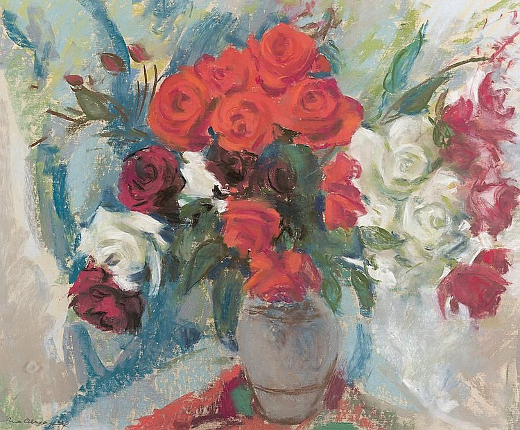 Lena Alexander (British, 1899-1983) Mixed roses 50 x 60 cm. (19 11/16 x 23 5/8 in.)