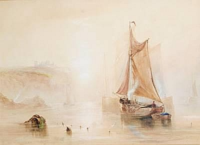 Joseph Newington Carter (British, 1835-1871) Boats off Whitby