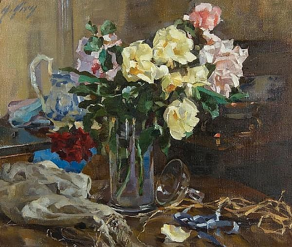 Anna Airy (British, 1882-1964) Still life of roses in a vase