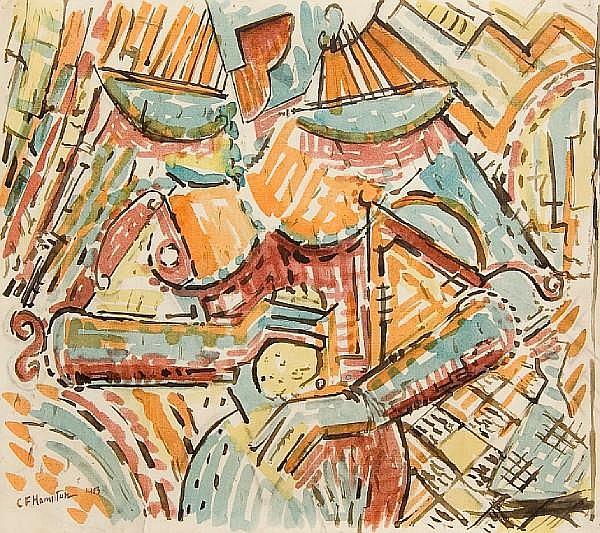 Cuthbert Hamilton (British, 1885-1959) Vorticist nude