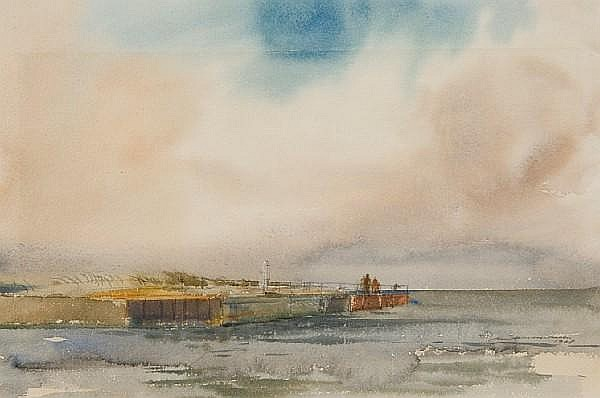 Ian Armour-Chelu (British, Contemporary) 'Harbour entrance at Walberswick'