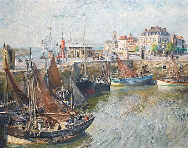 Richard Eurich A.R.A. (British, 1903-1992) Continental Port 101.5 x 127 cm. (40 x 50 in.)