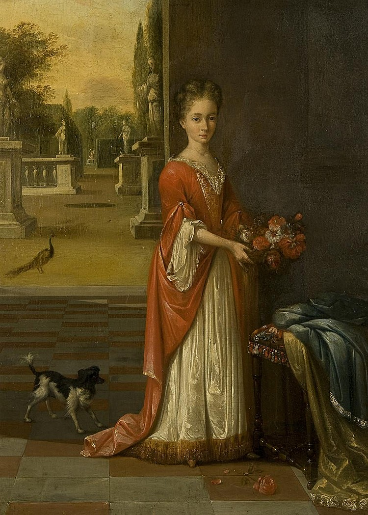 Circle of Mattheus Verheyden (Breda 1700-1776) Portrait of a young girl, full-length, in a white dress and red gown,