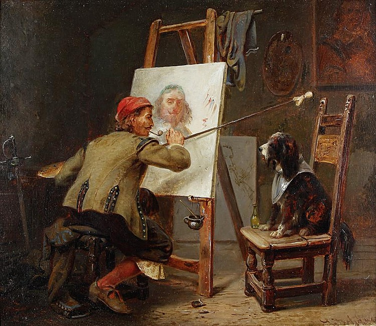 Karl Josef Litschauer (Austrian, 1830-1871) The artist's model
