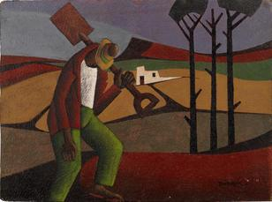 Diederick George During-(South African, 1917-1999)-Man with spade unframed