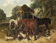 JOHN FREDERICK HERRING, SNR. (BRITISH, 1795-1865) Feeding time signed and dated 'J. F. Herring. Senr