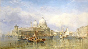 CLARKSON STANFIELD, RA (BRITISH, 1793-1867) View of the Grand Canal and Santa Maria della Salute sig