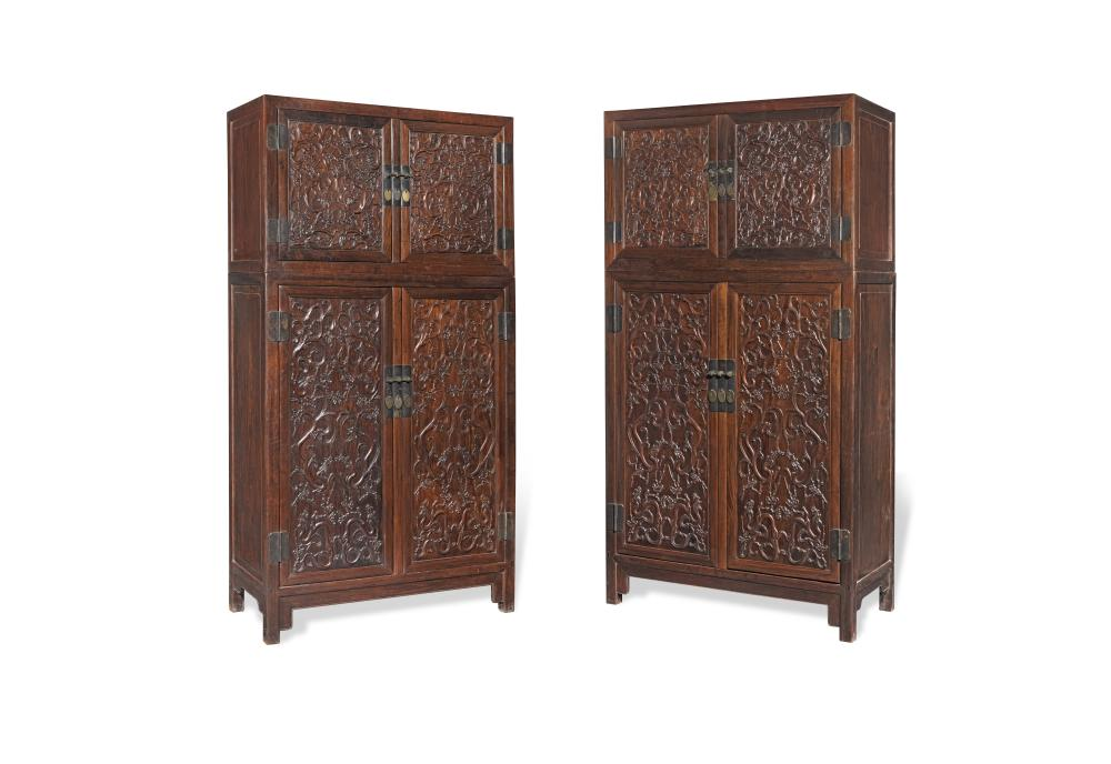 An important pair of Hongmu Four-Part Compound Hat-chests on Cabinets, dingxiang'gui 17th/18th century (4)