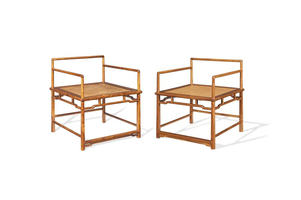 A pair of huanghuali 'meditation' chairs, chanyi (2)