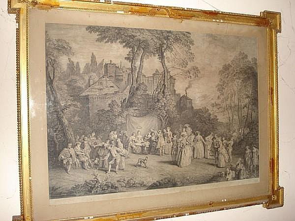 Charles Nicolas The Elder Cochin (French, 1688-1754) Le Mariee de Village (The Village Bride) Engraving, 1729 after Watteau, on paper, 58cm x 77cm, together with assorted other engravings. a lot