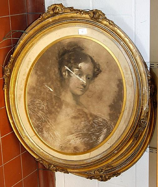 William Crawford (1825-1869) Three Victorian pastel portraits, oval 70 x 59cm