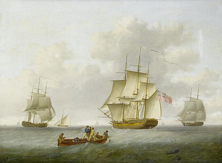 William Anderson (British, 1757-1837) Merchant and naval frigates closing offshore