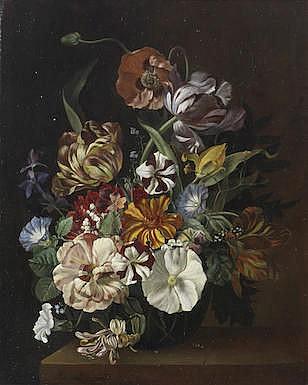 JOS SZTROYNOY (KREM 1888-1953 VIENNA) Poppies, tulips, convolvulus and othe