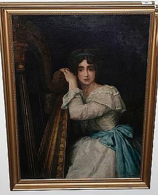 Carl Bernhard Schlösser (German, 1832-died after 1914) Portrait of a young lady at a harp