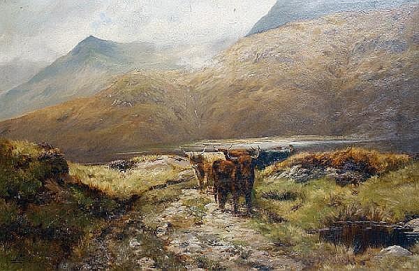 James Henry Crossland (British, born 1852) Highland cattle