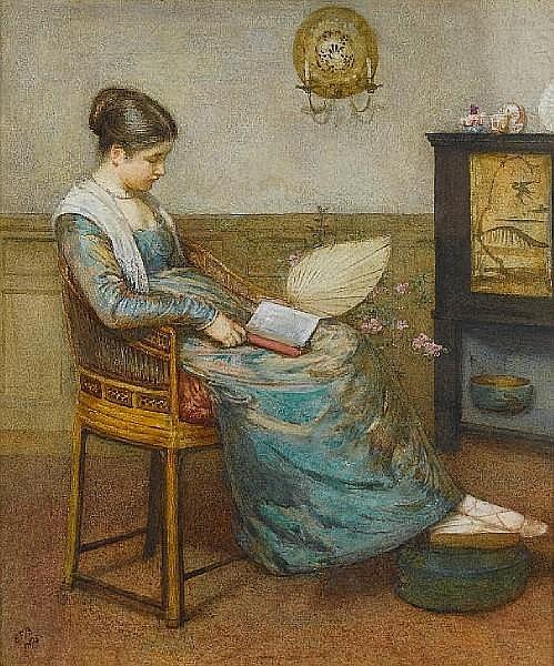 Edward Frederick Brewtnall, RWS, RBA (British, 1846-1902) Meditation 31 x 26.5 cm. (12 1/4 x 10 1/4 in.)