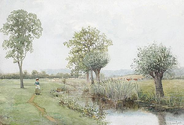Robert Cree Crawford (British, 1842-1924) A walk by the river