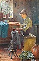 Carlton Alfred Smith, RI, RBA, ROI (British, 1853-1946) A young boy mending a shirt