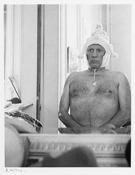 André Villers (French, born 1930) Picasso wearing Peruvian hat, c. 1960 Image 25.5 x 19.7cm (10 1/16 x 7 3/4in).