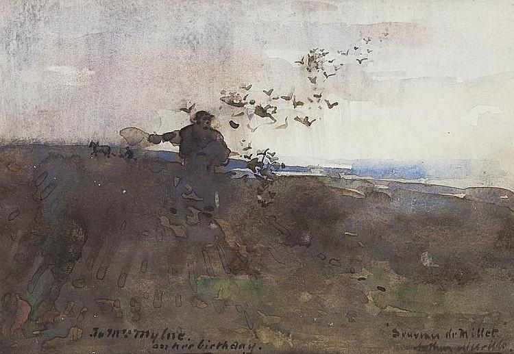 Arthur Melville, ARSA RSW ARS (British, 1855-1904) Souvenir de Millet 18 x 26 cm. (7 1/16 x 10 1/4 in.)