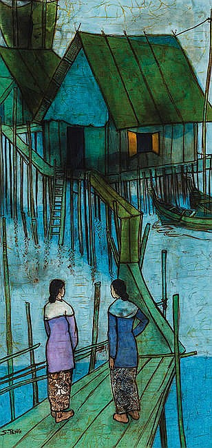 Chuah Siew Teng (Malaysian, b.1944) Ladies in a Ka
