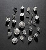 AR A collection of silver buttons, by Malcolm Appleby