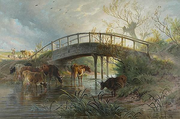 Thomas George Cooper (British, 1836-1901) Cattle by the river bank