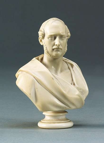 Matthew Noble (English, 1818-1876): A mid 19th century carved ivory miniature Bust of Prince Albert