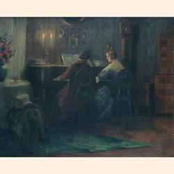 Otto Nowak (Austrian 1874-1945), The Music Lesson, oil on panel, signed and dated 1919, 33.5 x 41cm