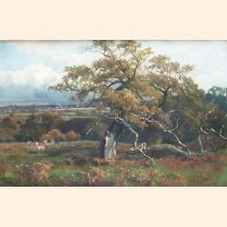 A W Redgate (British, fl.1886-1901), Donnington Park, oil on canvas, signed, with inscription verso, 30 x 46cm