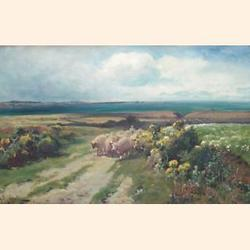 A.W Redgate (British, fl.1886-1901) Coastal Landscape with Sheep, oil on canvas, signed, 31 x 46cm