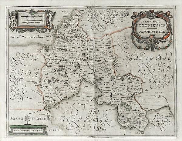 Johannes (Janssonius) Jansson (German, 1596-1666) Provincia Oxoniensis - Oxford-shire, 41.5 x 52cm.