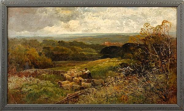 John Talbot Adams (British, active 1861-1905) A shepherd herding sheep in a rolling landscape