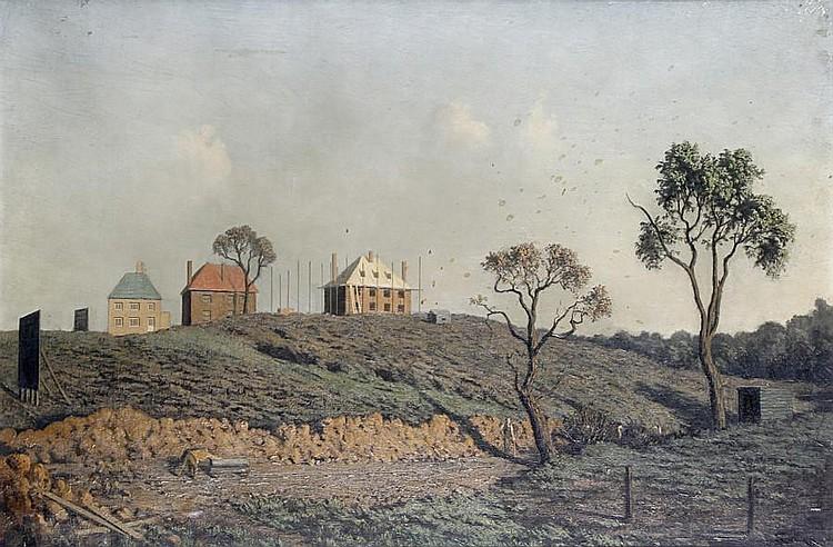 Algernon Cecil Newton (British, 1880-1968) Houses in a landscape