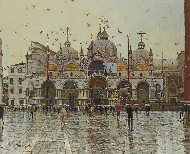 Richard Price (British, born 1962) St Mark's Square on a rainy day