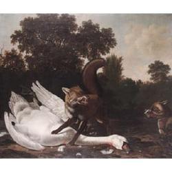 Dirck Wyntrack (Drenthe before 1625-1687 The Hague) and Joris van der Haagen (Arnhem circa 1615-1669 The Hague) Foxes hunting swans in
