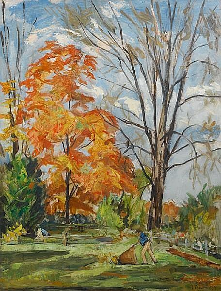 Joseph Pressmane (Ukrainian/French, 1904-1967) Autumn gardeners
