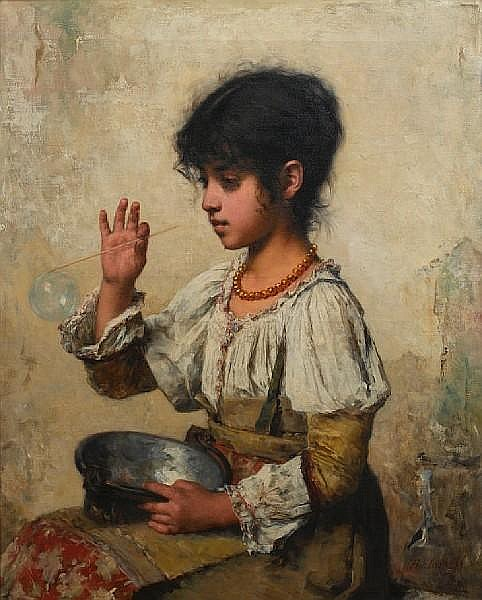 Alexei Alexeevich Harlamoff (Russian, 1840-1925) Young girl blowing bubbles