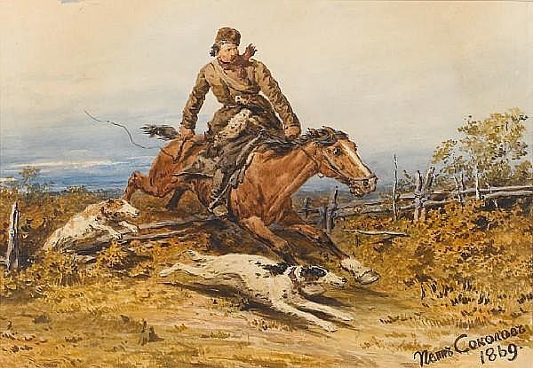 Petr Petrovich Sokolov (Russian, 1821-1899) In hot pursuit