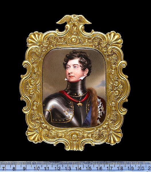 William Essex (British, 1784-1869) George IV (1762-1830), King of Great Britain (1820-1830), wearing brass-studded breastplate with high collar, the Order of the Golden Fleece on a red ribbon around his neck, a sable-lined red velvet cape over his