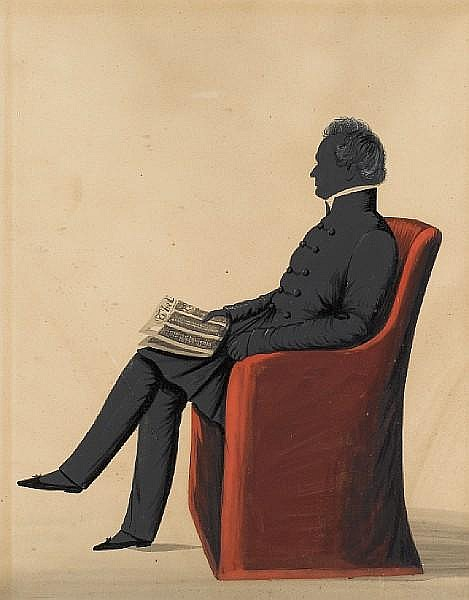 W.H. Beaumont (British, active 1833-1850) A silhouette of John Lamb (1799-1850), full-length, profile to left, wearing double-breasted frock coat, trousers, white stock and slippers, seated in a red armchair, holding a newspaper in his right hand